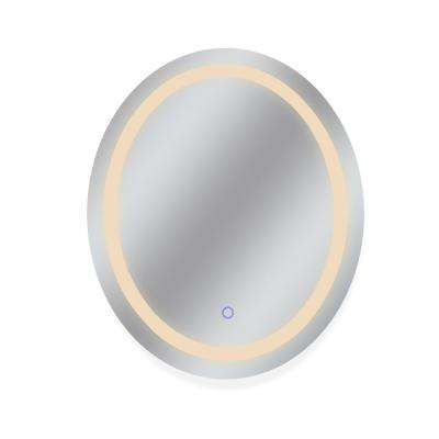 30 in. x 36 in. Tri-Color Oval Wall Backlit Single LED Mirror with Touch On/Off Dimmer and Anti-Fog Function