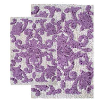 20 in. x 32 in. and 23 in. x 39 in. 2-Piece Iron Gate Bath Rug Set in White and Lilac