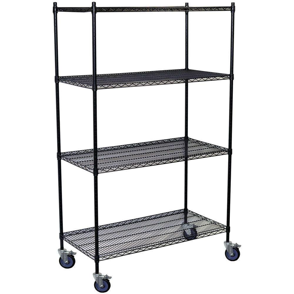 80 in. H x 36 in. W x 18 in. D 4-Shelf Steel Wire Shelving Unit in Black
