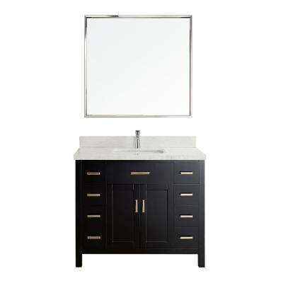 Kalize II 42 in. W x 22 in. D Vanity in Espresso with Engineered Vanity Top in White with White Basin and Mirror