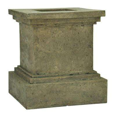 16-1/2 in. Square Aged Granite Cast Stone Pedestal Planter