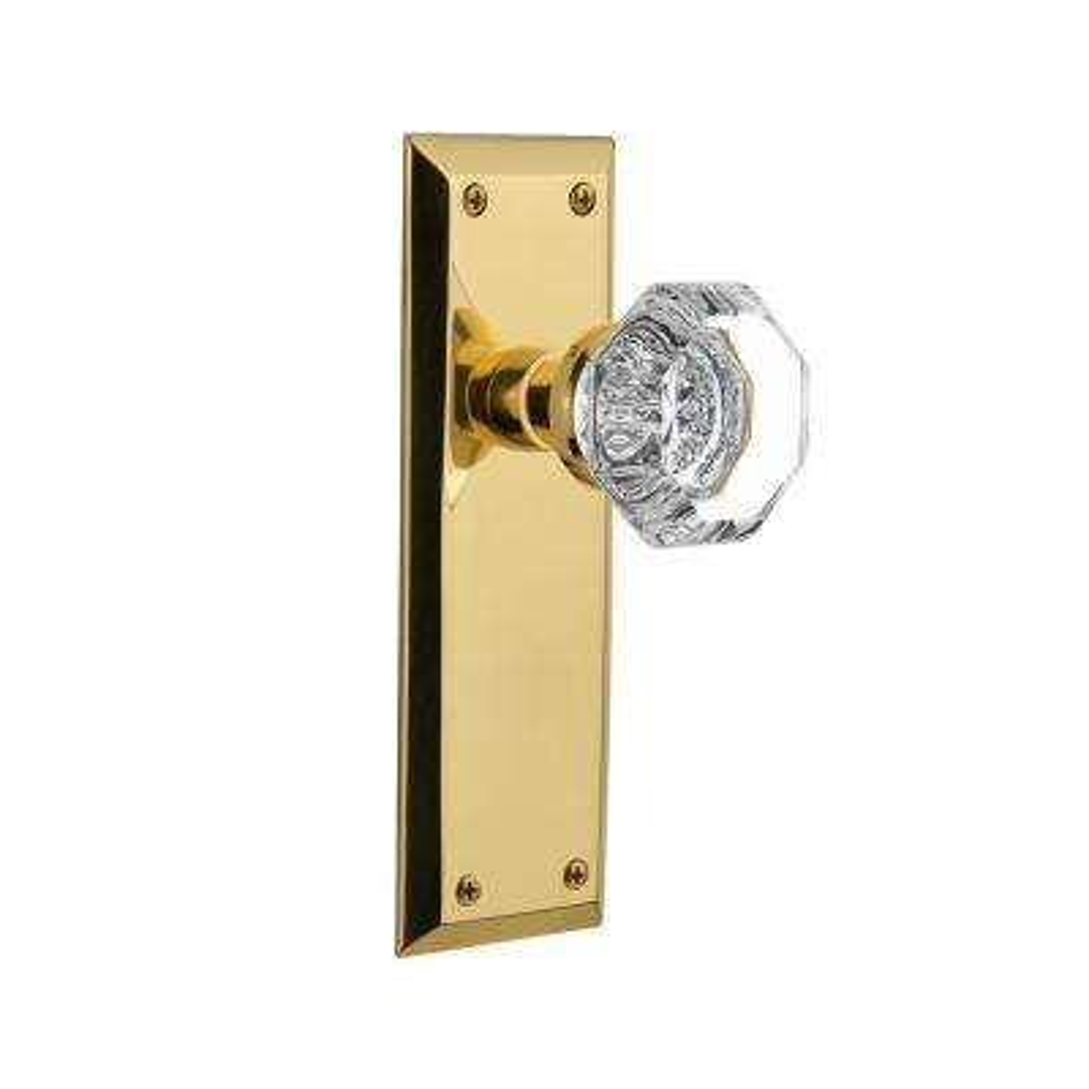 New York Plate 2-3/8 in. Backset Unlacquered Brass Passage Hall/Closet Waldorf Door Knob