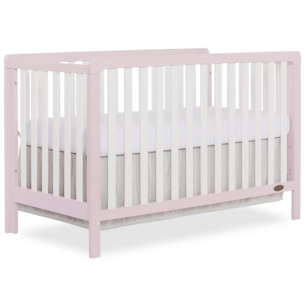 Ridgefield Brush Pink White 5-in-1 Convertible Crib