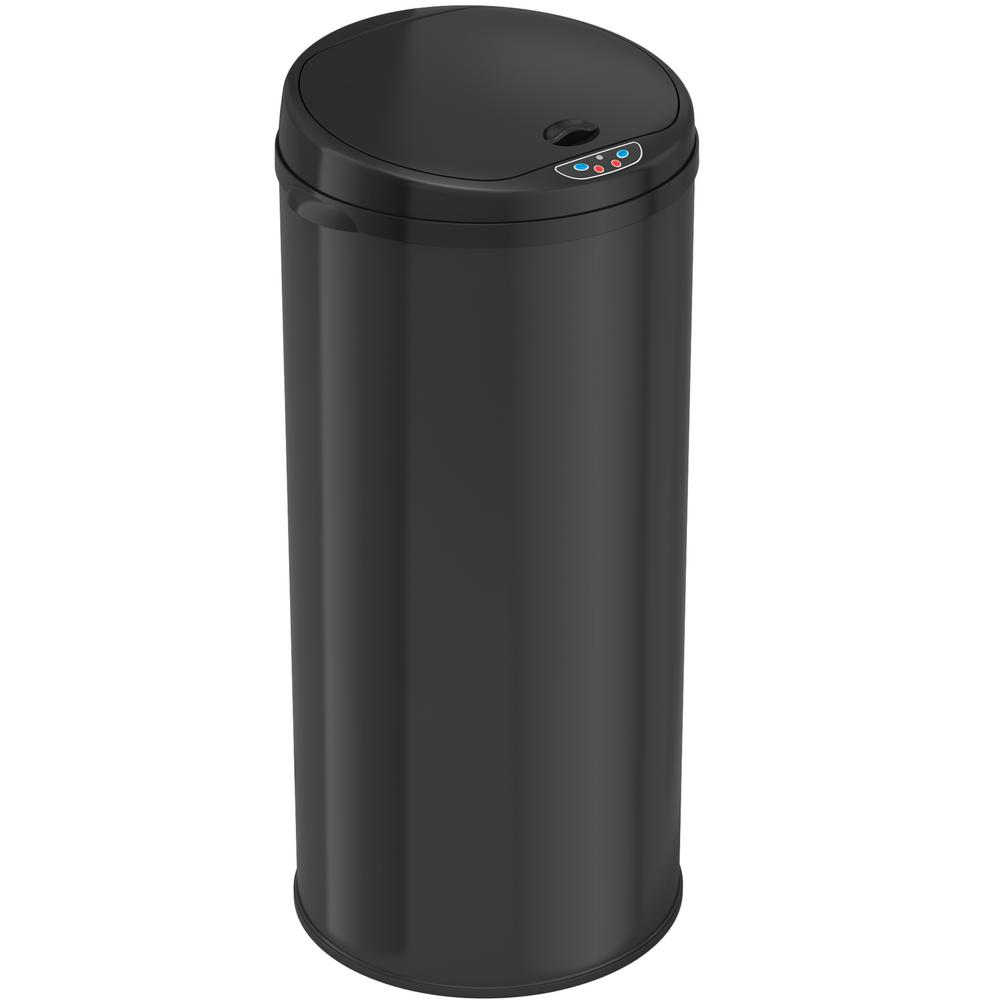 Deodorizer 13 Gal. Matte Finish Black Touchless Round Sensor Trash Can