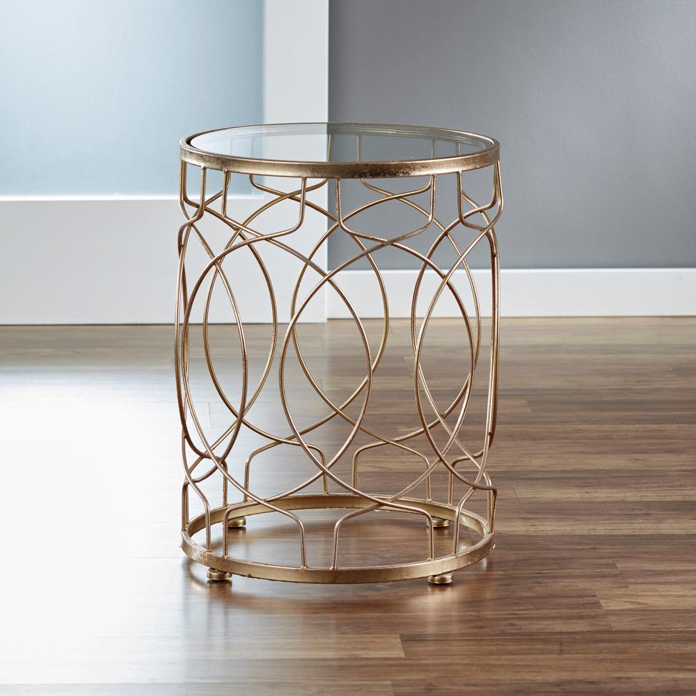 FirsTime Loop Side Table   Gold, Tempered Glass