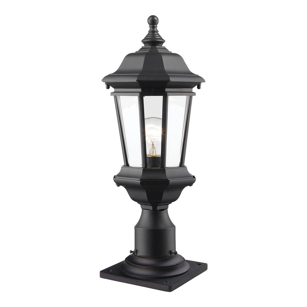 Presley 1 Light Black Outdoor Pier Mount With Clear