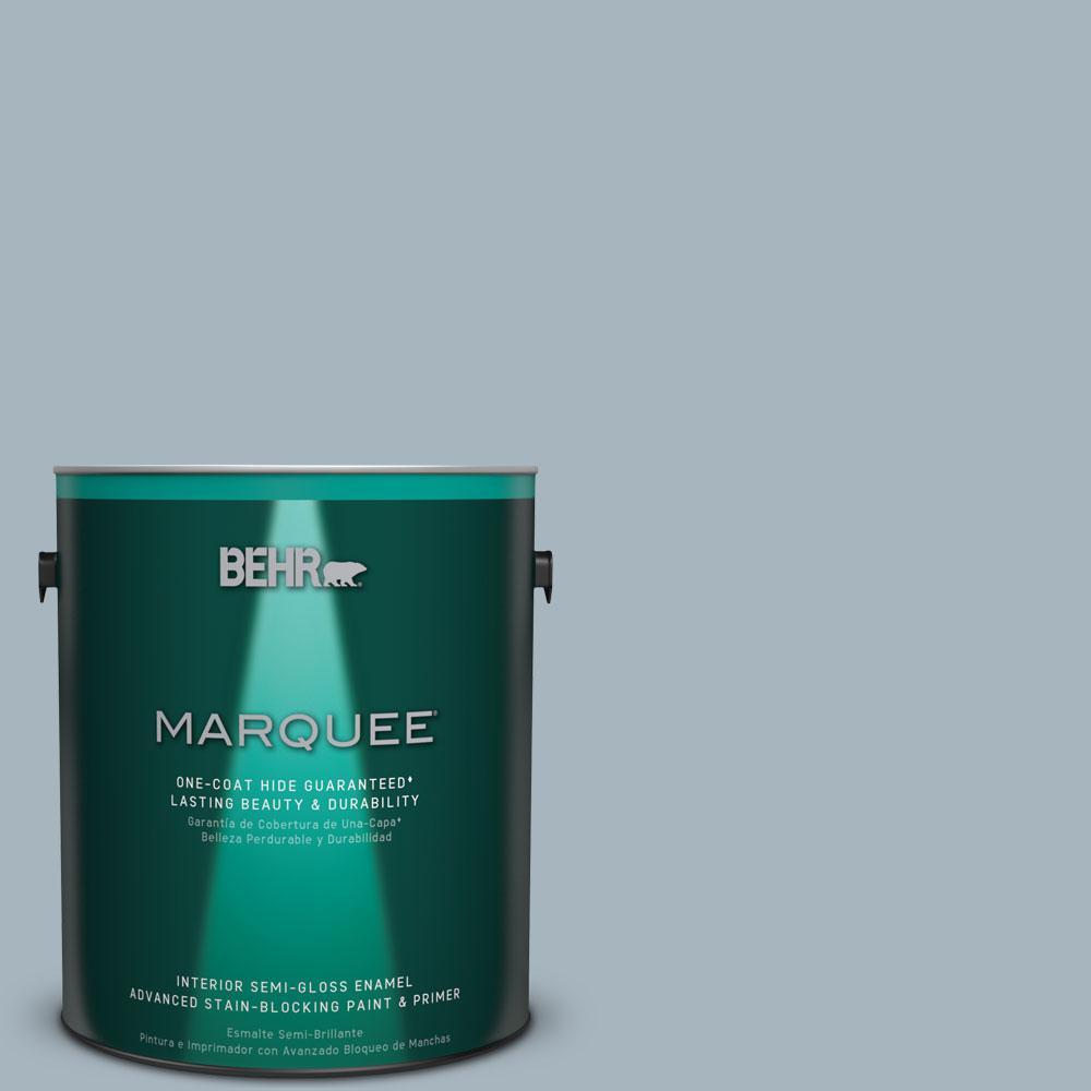 1 gal. #N480-3 Shadow Blue One-Coat Hide Semi-Gloss Enamel Interior Paint