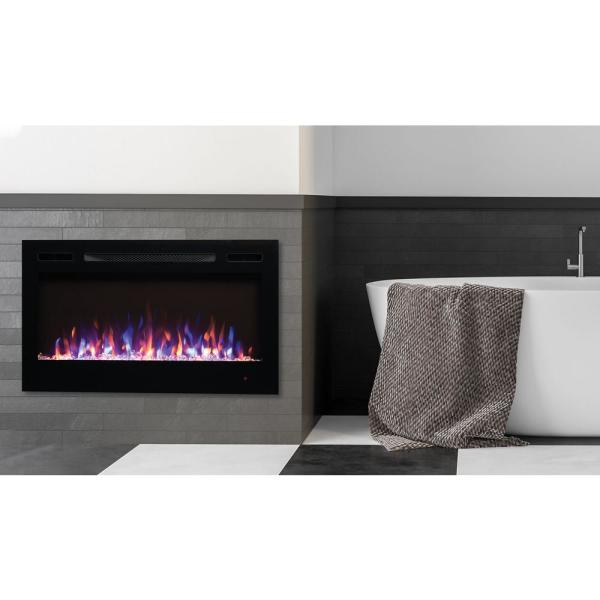 36 in. LED Wall-Mounted or Recessed Electric Fireplace with Crystal Flame Effect in Black