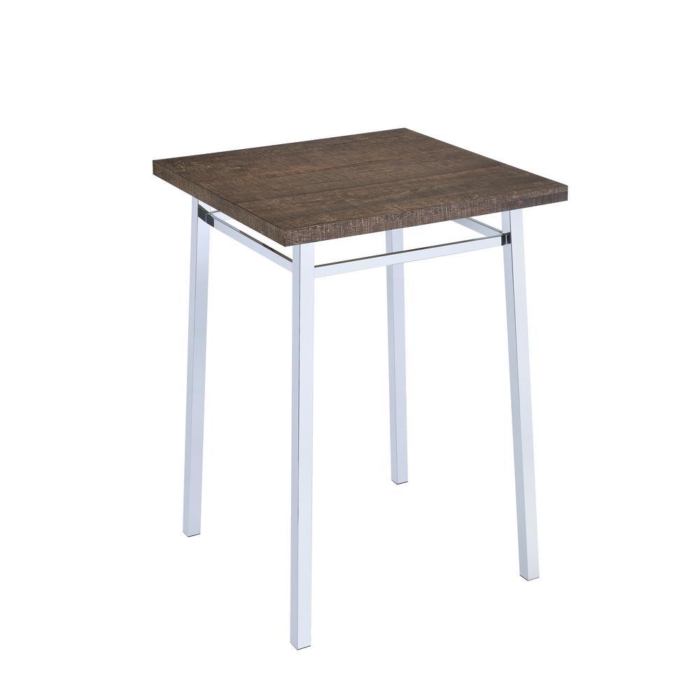 Nadie Oak and Chrome Bar Table
