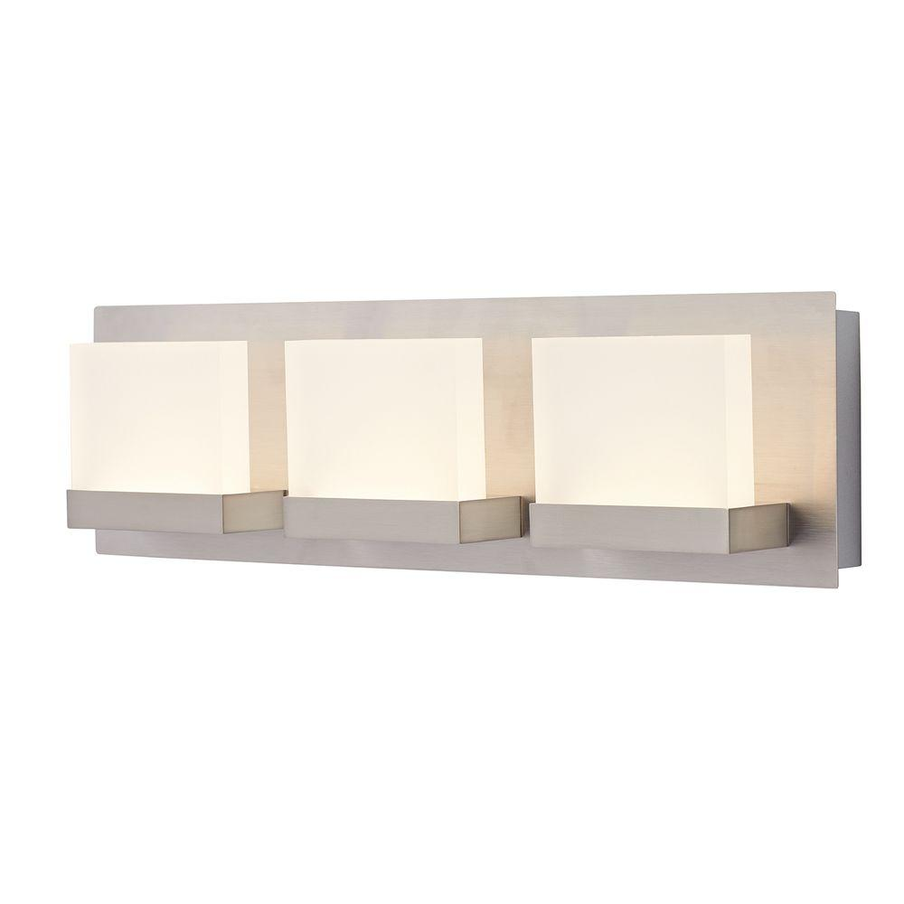 Alberson Collection 3-Light Brushed Nickel LED Vanity Light with Frosted  Acrylic Shade - Vanity Lighting - Lighting - The Home Depot