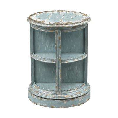 Blue and Tan Swivel Accent Table