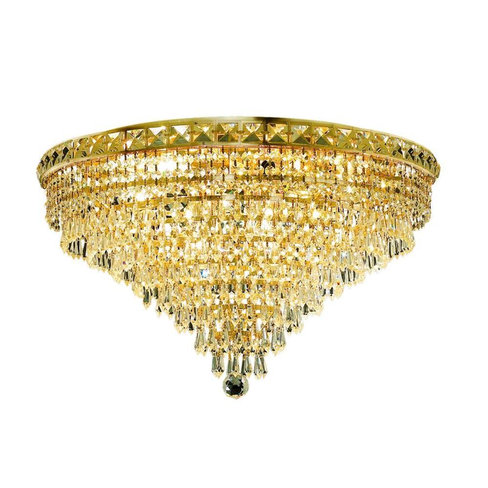 Elegant Lighting 12-Light Gold Flushmount with Clear Crystal