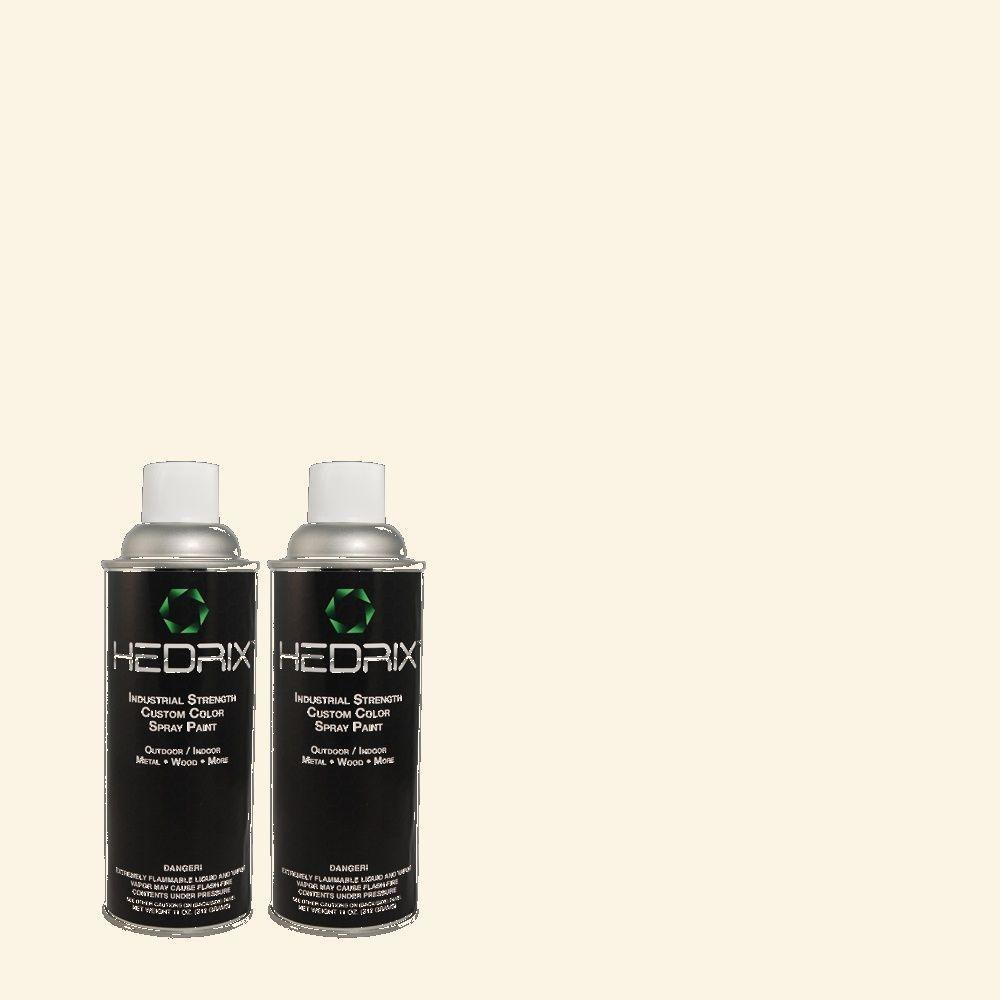 Hedrix 11 oz. Match of PWN-34 White Luxury Flat Custom Spray Paint (2-Pack)