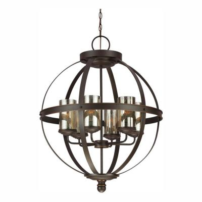 Sfera 24.5 in. W. 6-Light Autumn Bronze Chandelier with LED Bulbs