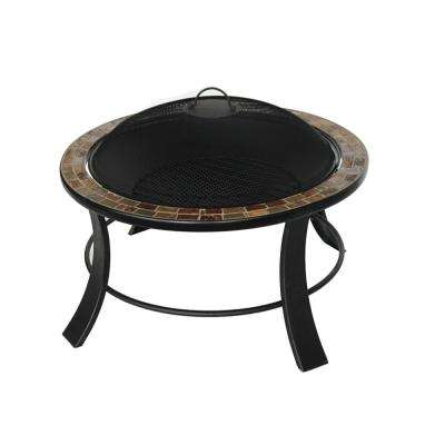 24 in. x 20 in. Round Mosaic Tile Wood Fire Pit in Brown with Log Grate, Flame Retardant Lid and Steel Poker