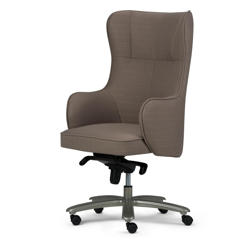 Simpli Home Leeds Warm Grey Wingback Swivel Office Chair