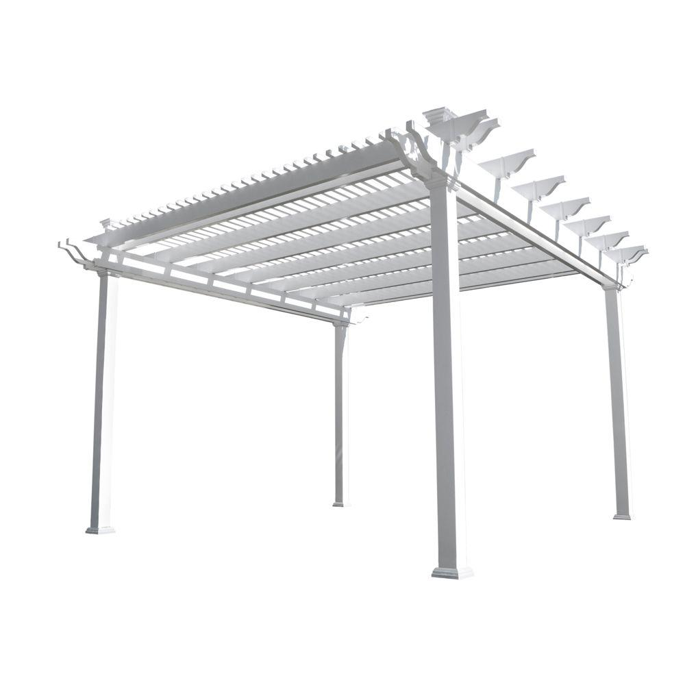 Weatherables Largo 14 ft. x 14 ft. White Double Beam Vinyl Pergola