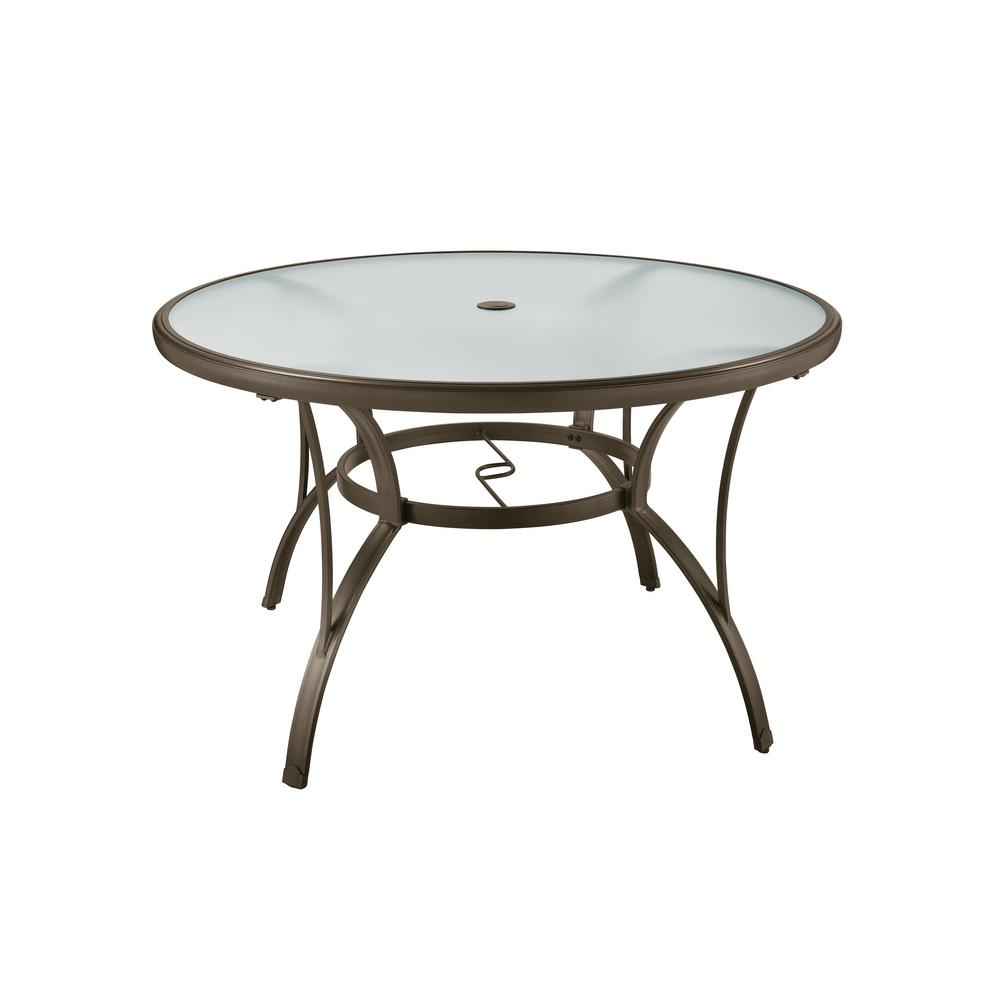 Superior Hampton Bay Commercial Grade Aluminum Brown Round Outdoor Dining Table