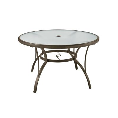 Commercial Grade Aluminum Brown Round Outdoor Patio Dining Table