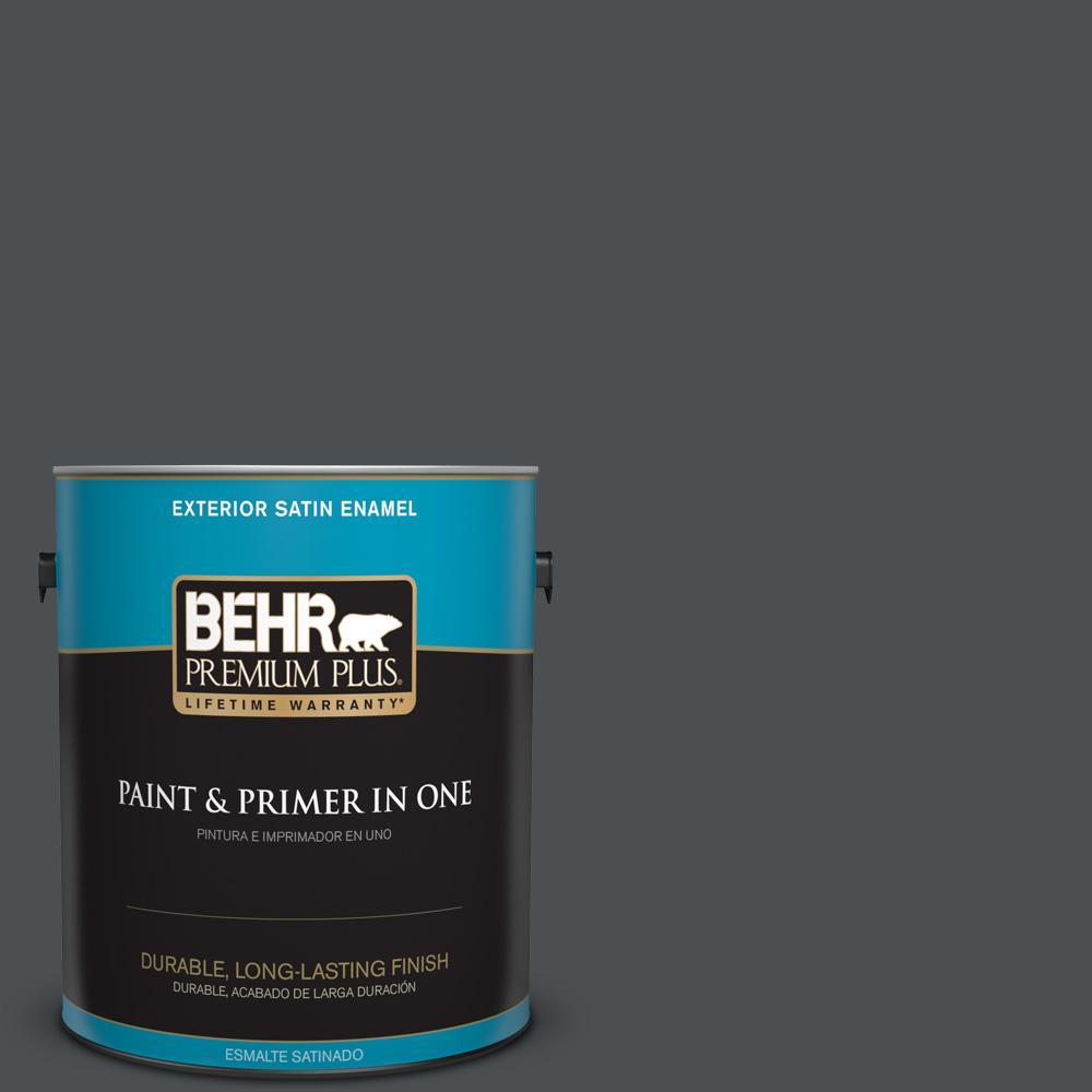 1 gal. #PPU26-01 Satin Black Satin Enamel Exterior Paint