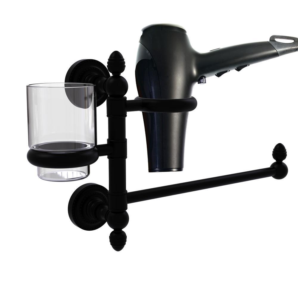 Allied Brass Dottingham Collection Hair Dryer Holder and Organizer in Satin Chrome