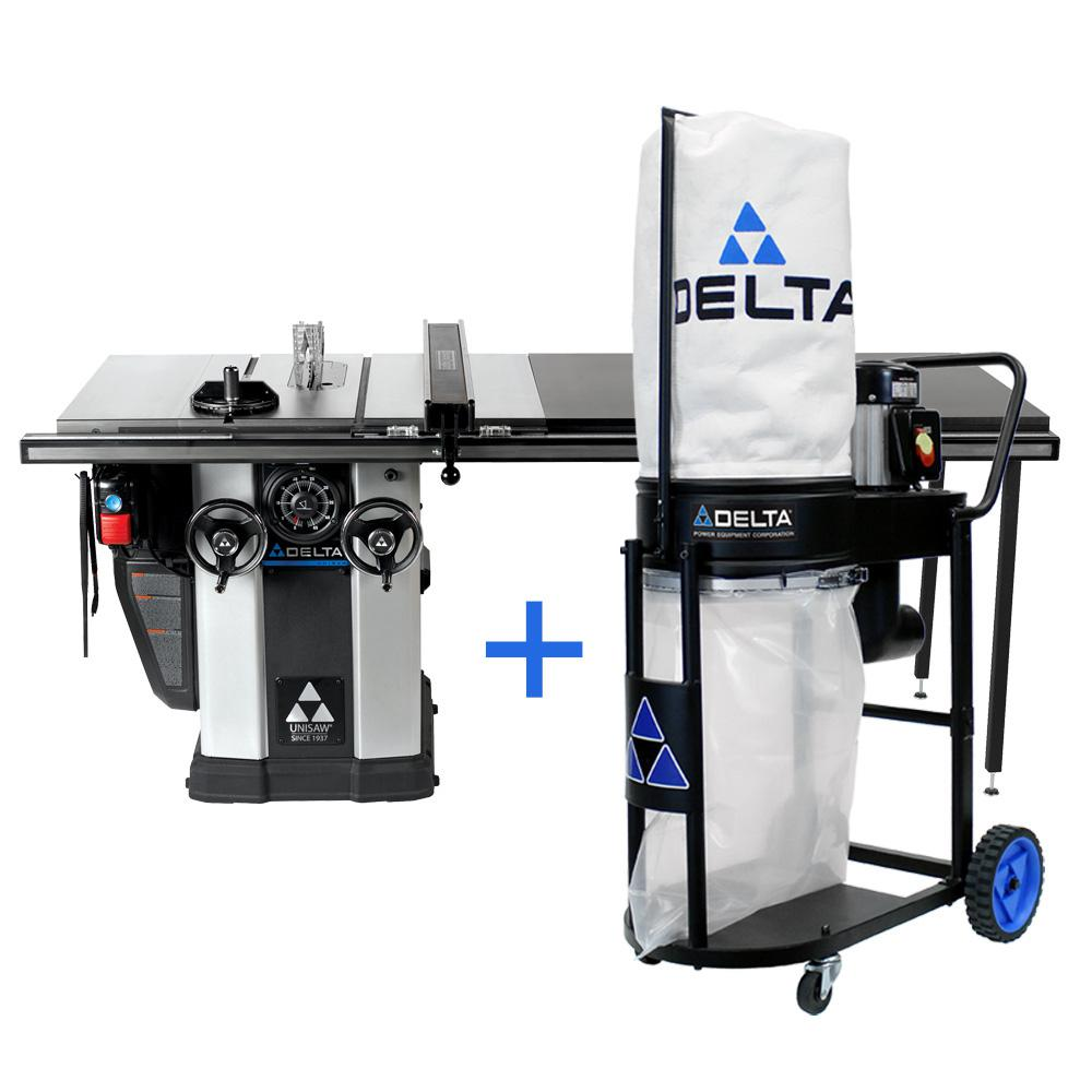Delta 3 HP Left Tilt Unisaw Table Saw with 52 in. Biesemeyer Fence System and FREE 1.0 HP Dust Collection System -  36-L352D