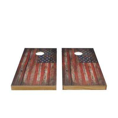 Vintage Flag Wood Cornhole Set