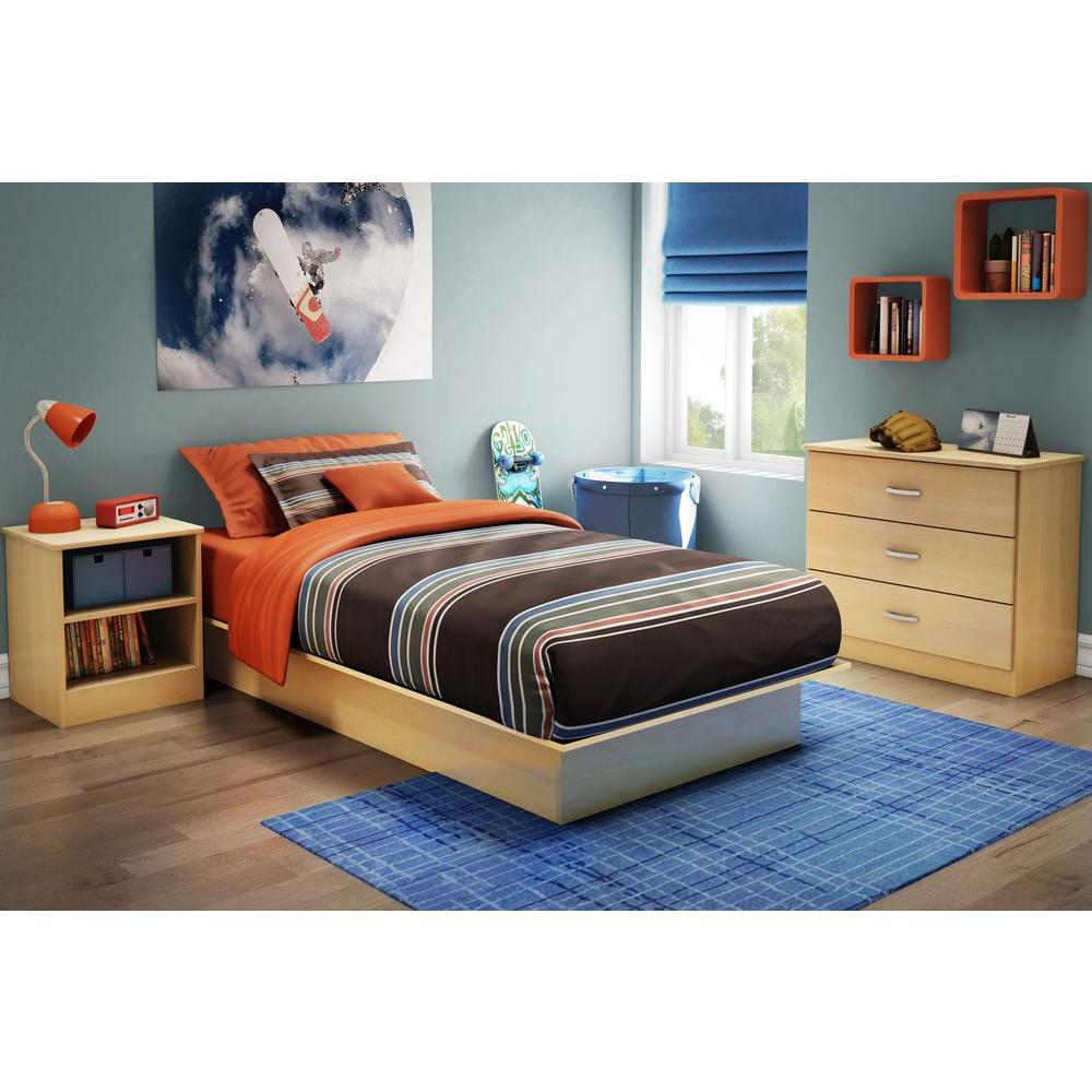 Libra Twin Size Platform Bed In Natural Maple