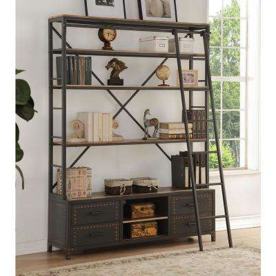 Actaki Etagere Sandy Gray Bookcase with Ladder
