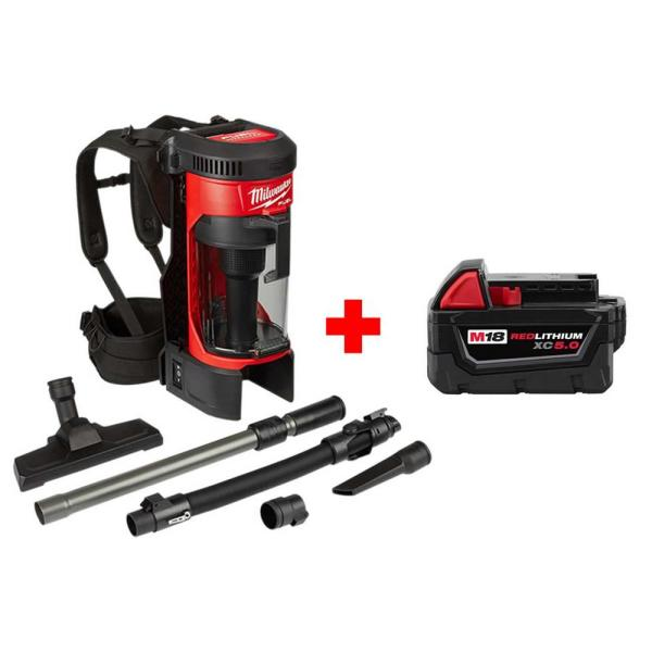 Milwaukee M18 FUEL 18-Volt 1 Gal. Lithium-Ion Brushless Cordless 3-in-1 Backpack Wet/Dry Vacuum with Free M18 XC 5.0 Ah Battery