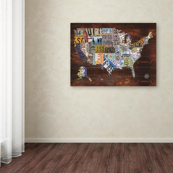 18 In X 24 In Usa License Plate Map On Wood By Masters Fine Art Printed Canvas Wall Art