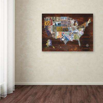 "35 in. x 47 in. ""USA License Plate Map on Wood"" by Masters Fine Art Printed Canvas Wall Art"