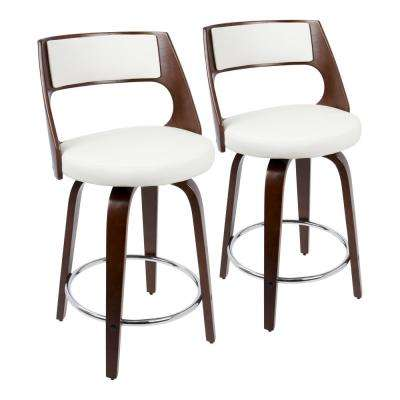 Cecina 24 in. Cherry with White Faux Leather Counter Stool (Set of 2)