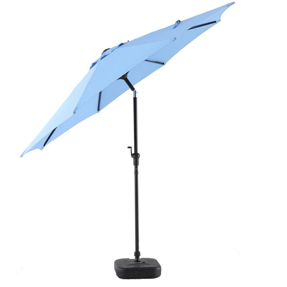 Patio Umbrella Rental: Hampton Bay 9 Ft. Steel Patio Umbrella In Periwinkle-YJAUC