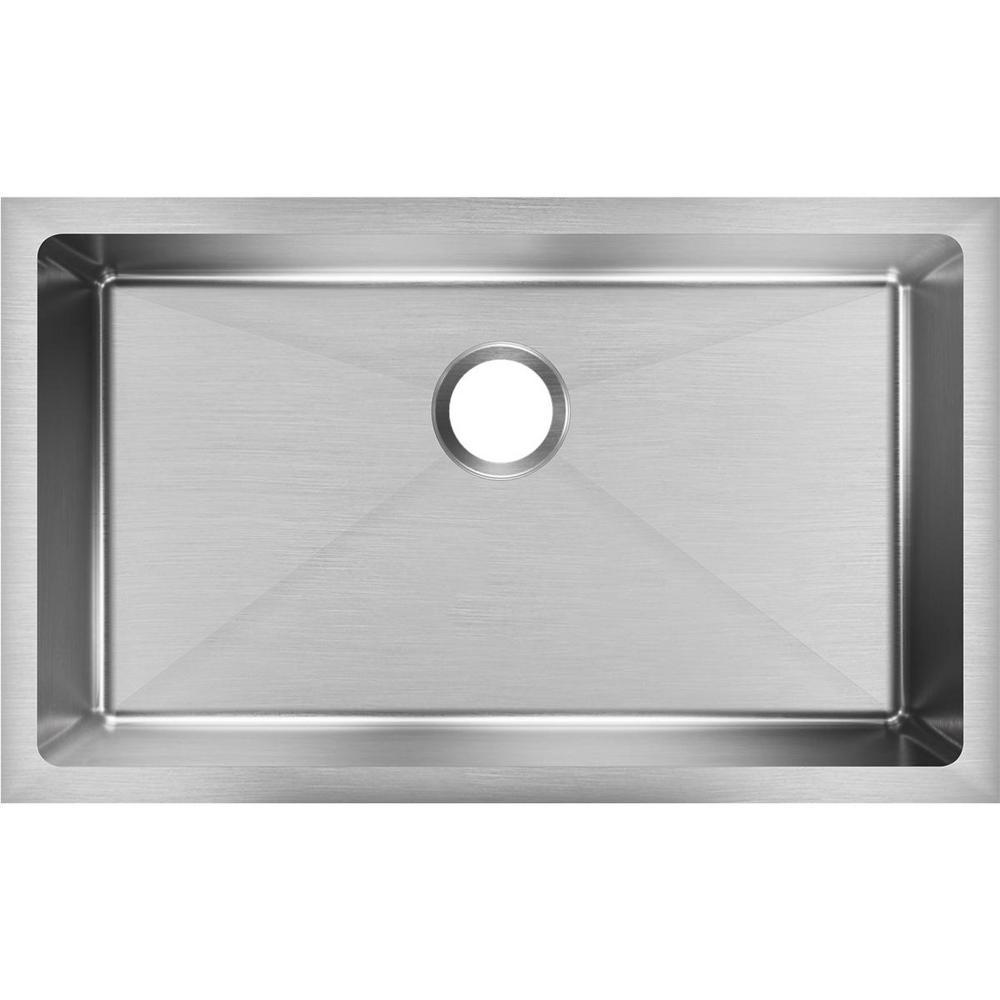 Crosstown Undermount Stainless Steel 31 in. Single Bowl Kitchen Sink