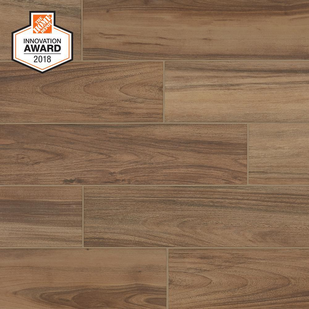 LifeProof Toffee Wood 6 in. x 24 in. Glazed Porcelain Floor and Wall Tile (14.55 sq. ft. / case)