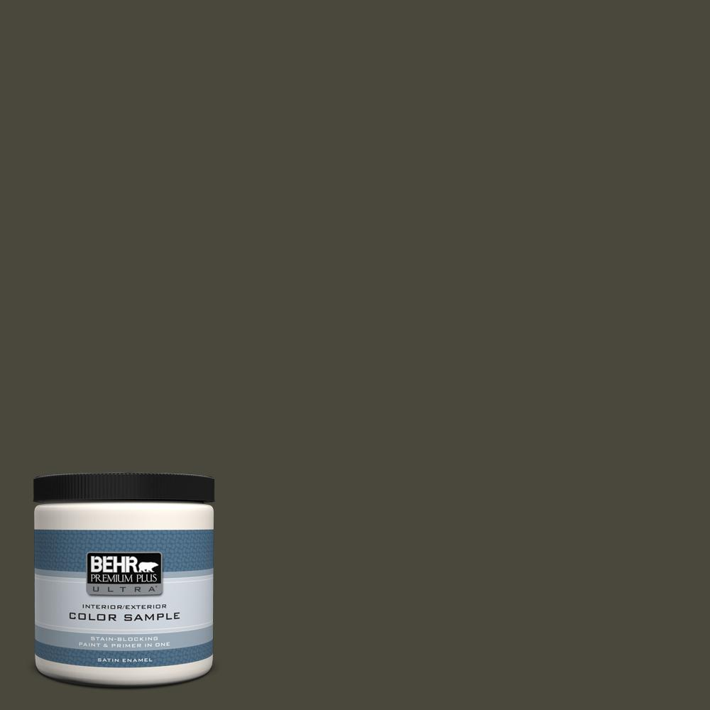 Ppu24 01 Black Mocha Satin Enamel Interior Exterior Paint And Primer In One Sample