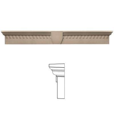 9 in. x 73 5/8 in. Classic Dentil Window Header with Keystone in 023 Wicker