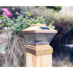 Relightable Solar 4 in. x 4 in. Gold Vinyl Outdoor Post Cap Deck LED Lights (4-Pack)