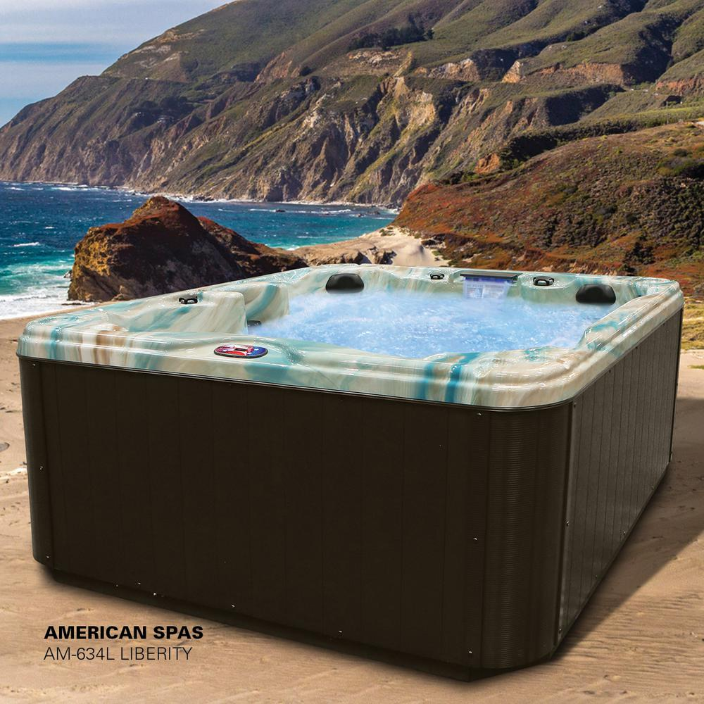 American Spas Liberty 5-Person 34-Jet Lounger Spa with Backlit LED Waterfall