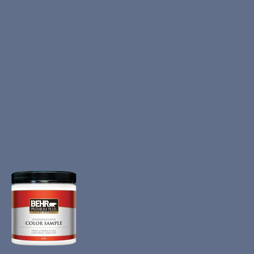 BEHR Premium Plus 8 oz. #600F-6 Atlantic Blue Interior/Exterior Paint Sample