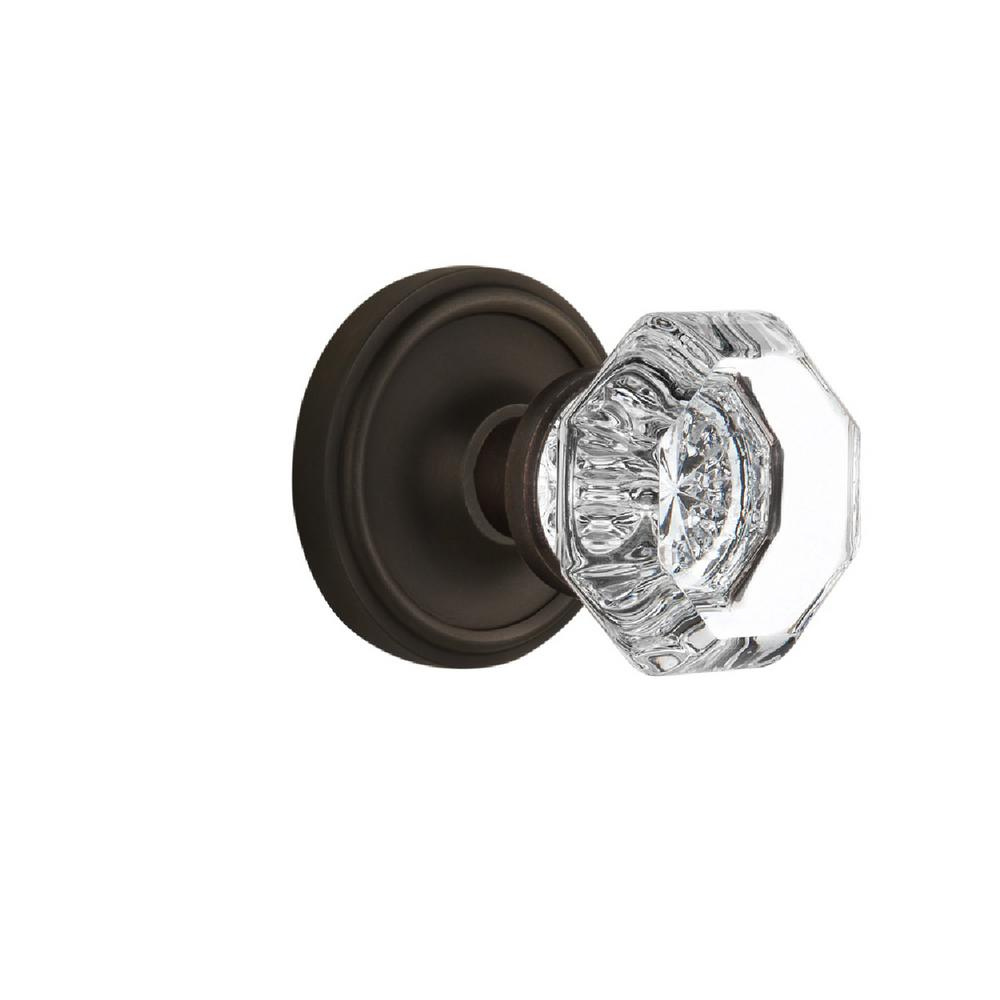 Nostalgic Warehouse Classic Rosette 2-3/8 in. Backset Oil-Rubbed Bronze Privacy Waldorf Crystal Door Knob