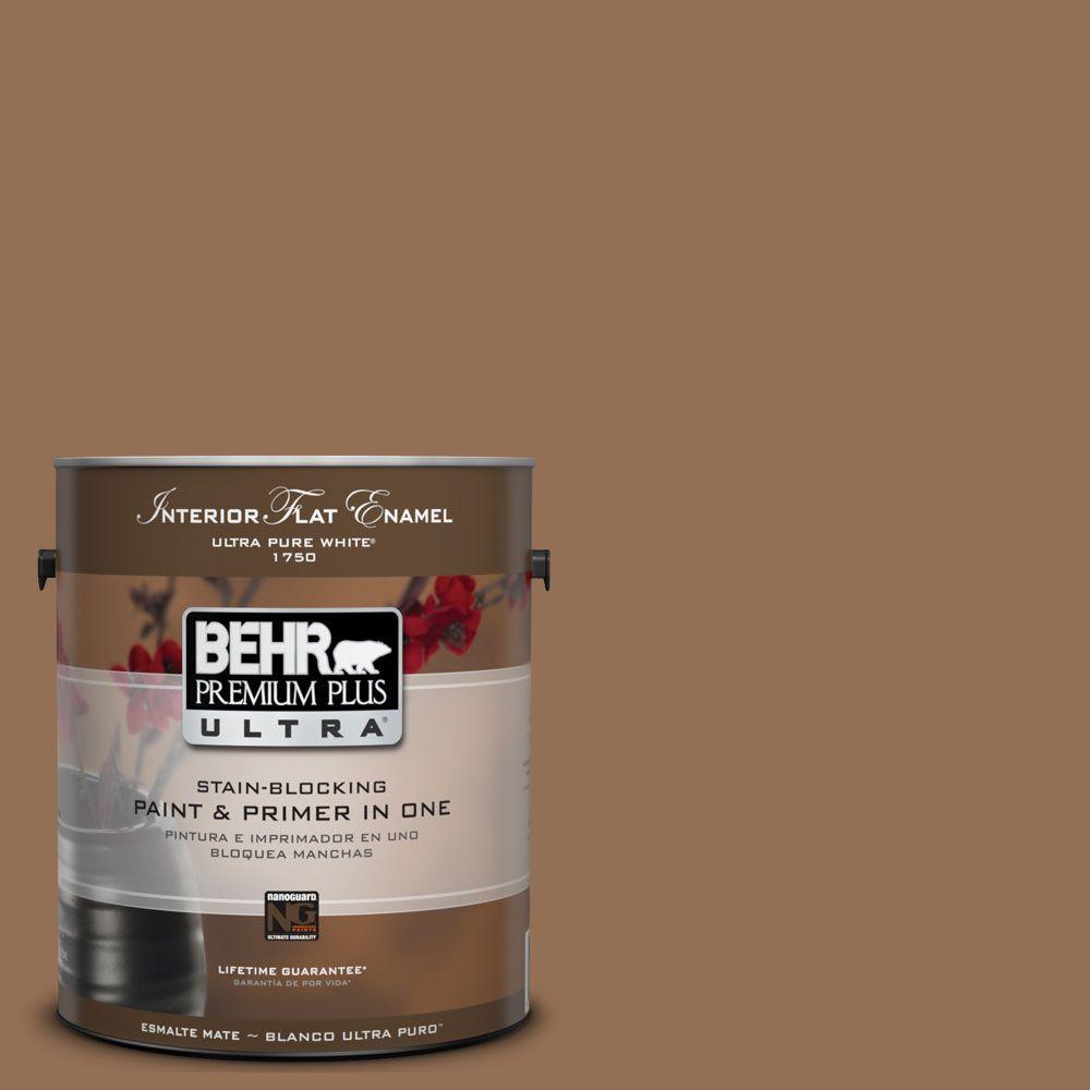 BEHR Premium Plus Ultra 1-Gal. #UL140-21 Toffee Bar Interior Flat Enamel Paint