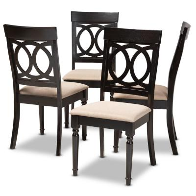 Lucie Sand and Espresso Fabric Dining Chair (Set of 4)