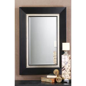 Global Direct 40 inch x 30 inch Matte Black Wood Rectangular Framed Mirror by Global Direct