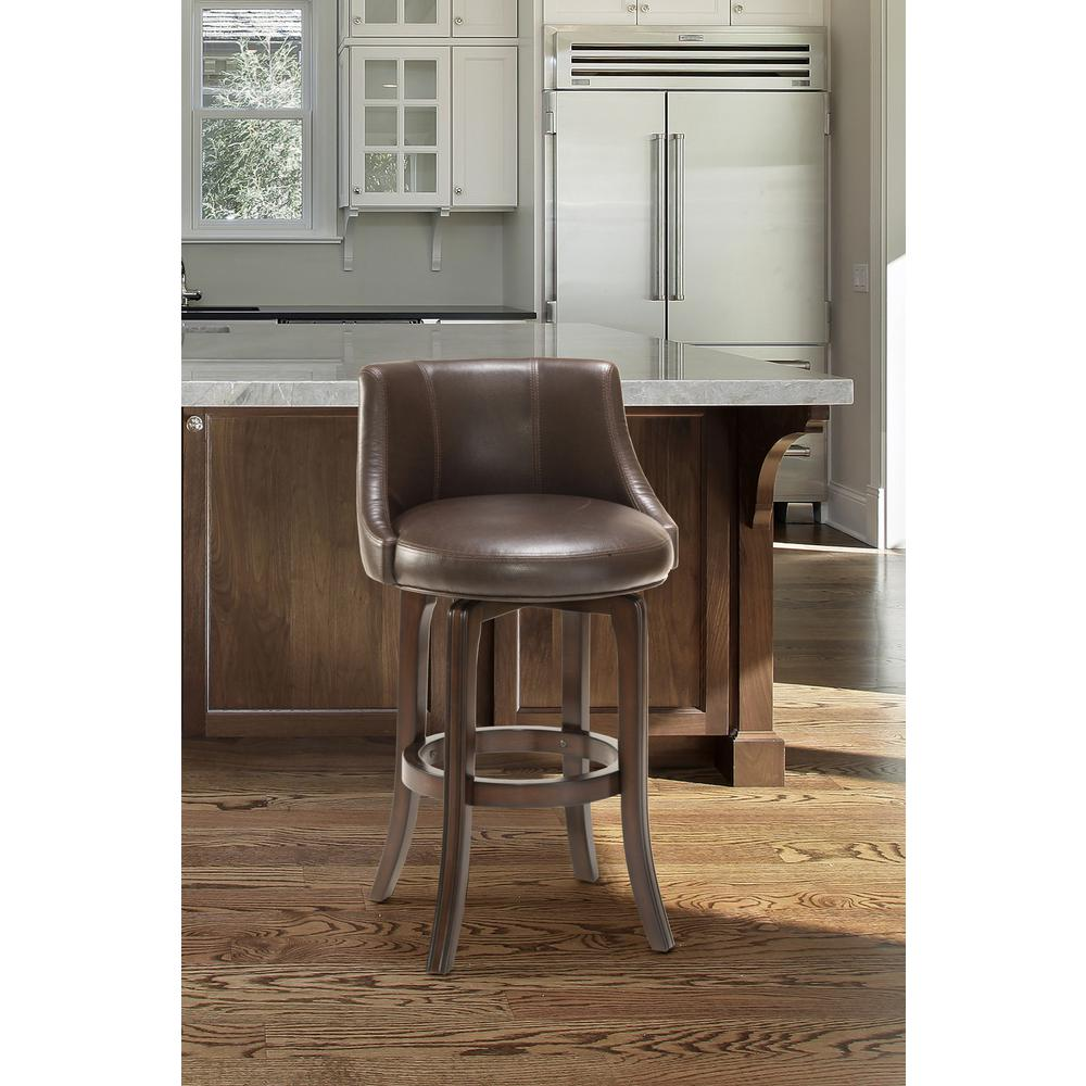 Hilale Furniture Napa Valley 29 75 In Swivel Bar Stool Dark Brown Cherry