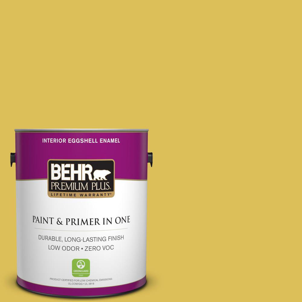 BEHR Premium Plus 1-gal. #P320-6 Sulfur Yellow Eggshell Enamel Interior Paint