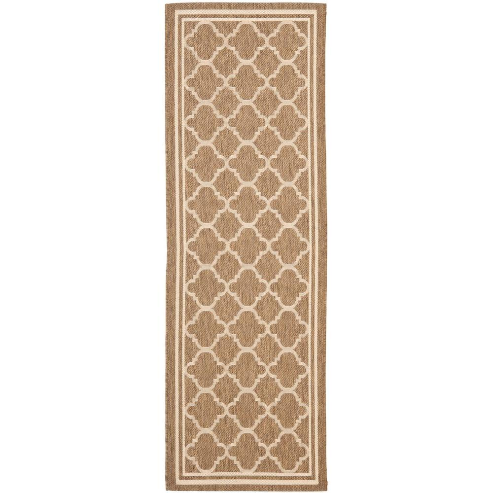 Safavieh Courtyard Brown Bone 2 Ft X 10 Ft Indoor Outdoor Runner