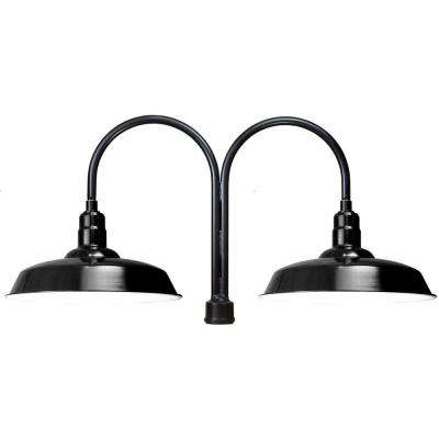 1-Light Black Outdoor Fluorescent Flush Mount Light
