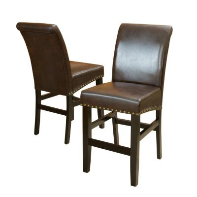 Lisette 25 in. Brown Leather Studded Counter Stool (Set of 2)